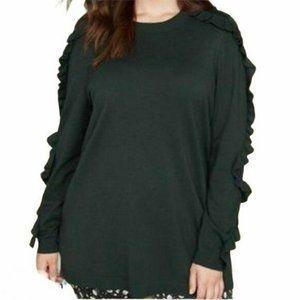 Lane Bryant 18/20 Dark Green Knit Ruffle Sweater